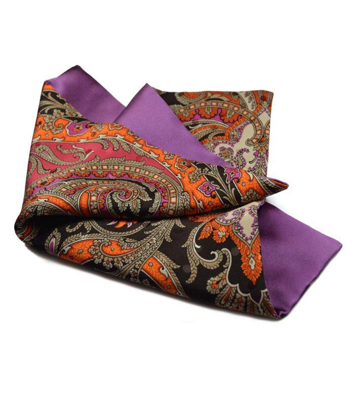 Paisley & lilac pocket square