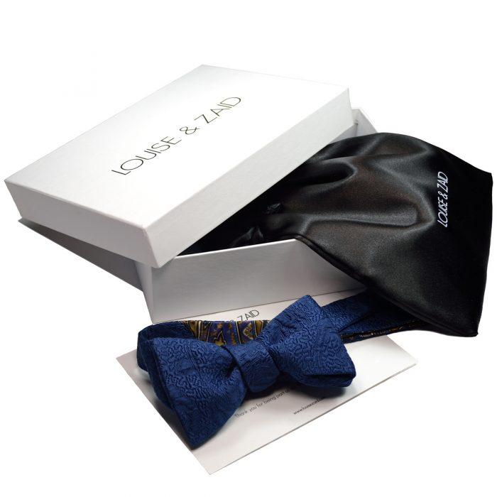 L&Z WhiteBox - Blue Brocade bow Tie