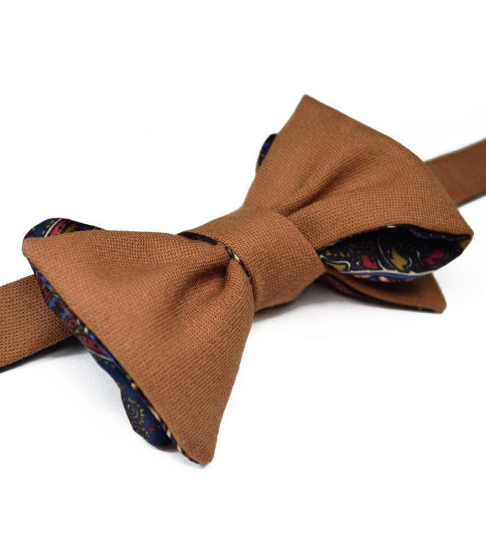 Camel& Paisley Bow Tie