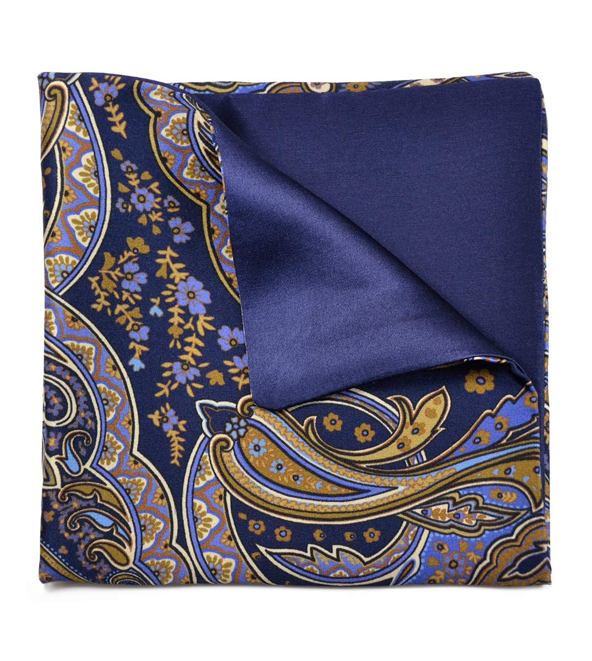Khaki Paisley & Blue Pocket Square