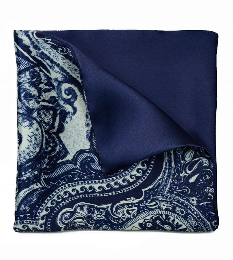Navy Blue Paisley & Blue Pocket Square
