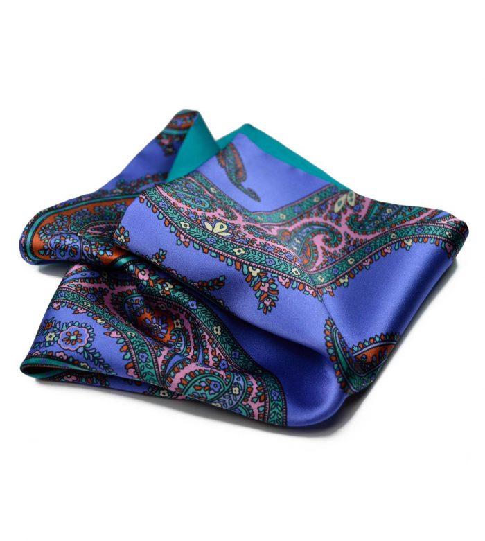 Violet Paisley & Turquoise Pocket Square