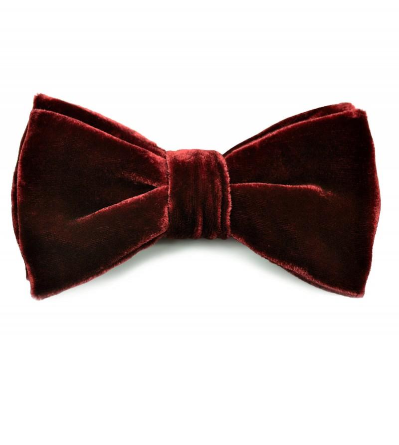 Deep Burgundy Velvet Bow Tie