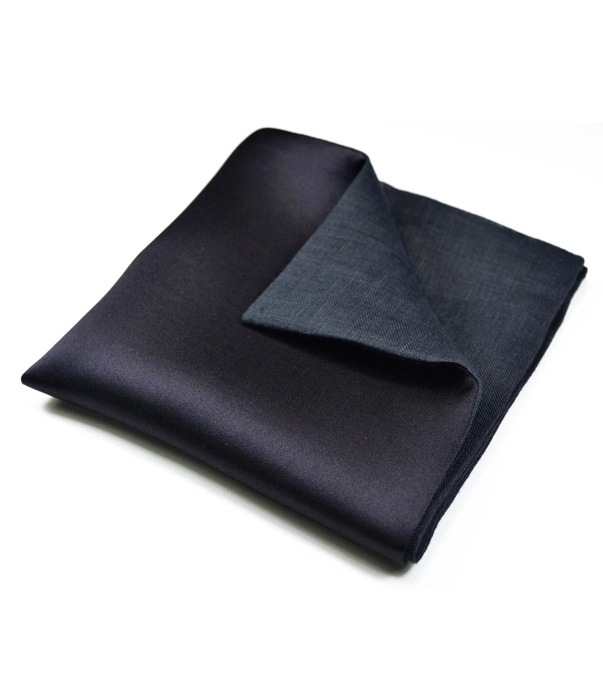 Navy Blue Silk & Linen Pocket Square