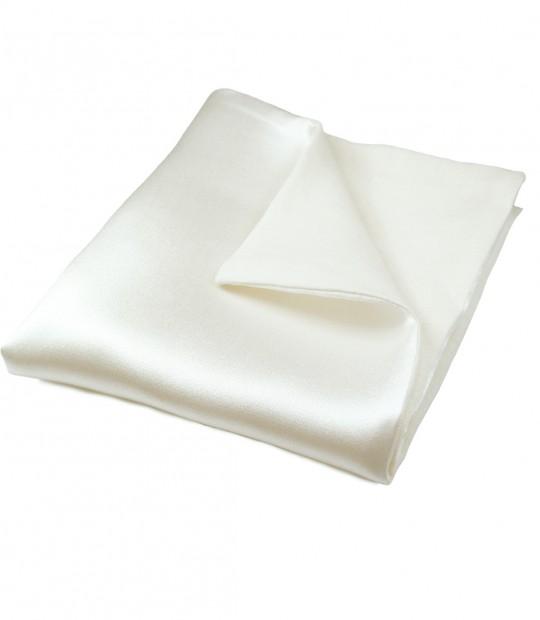 White Silk & Linen Pocket Square