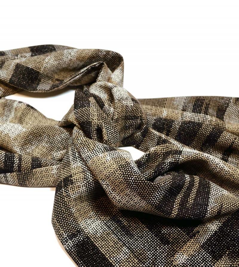 Light brown & black silk crêpe de chine scarf
