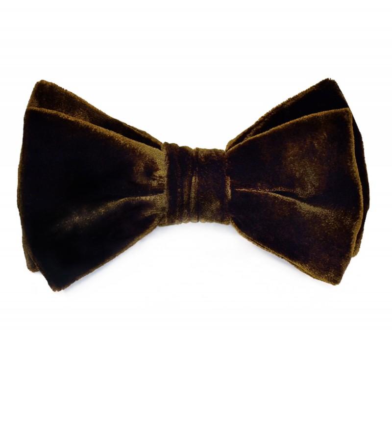 Brown velvet bowtie