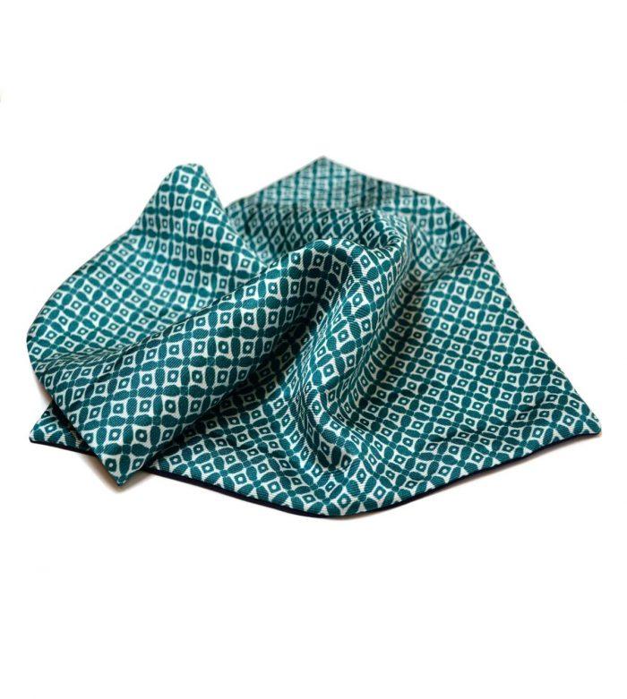 Geometric green silk pocket square