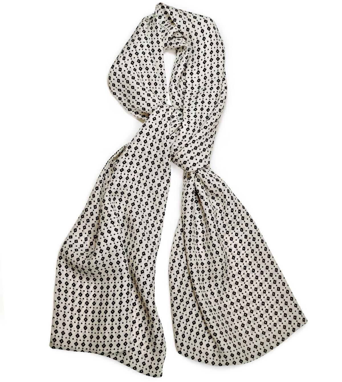 Ivory & black silk crêpe de chine scarf