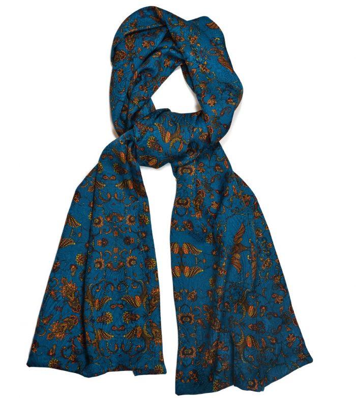Teal & orange silk scarf Jacquard