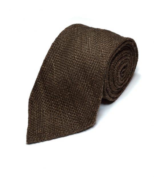 Brown slub silk tie