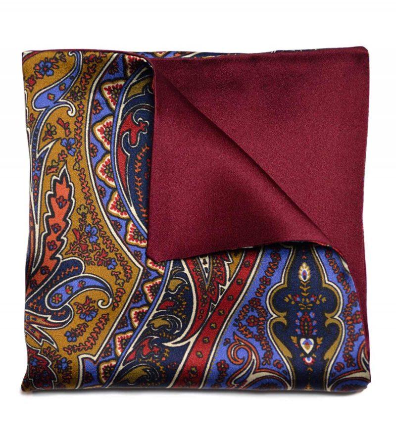 Paisley & burgundy pocket square
