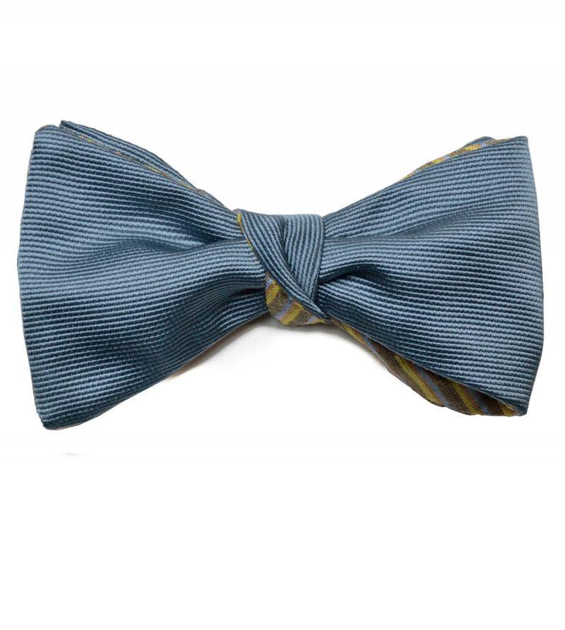 Greyish blue & striped silk bow tie