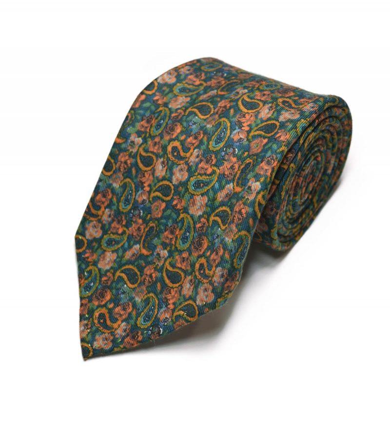 Seven-fold green paisley tie