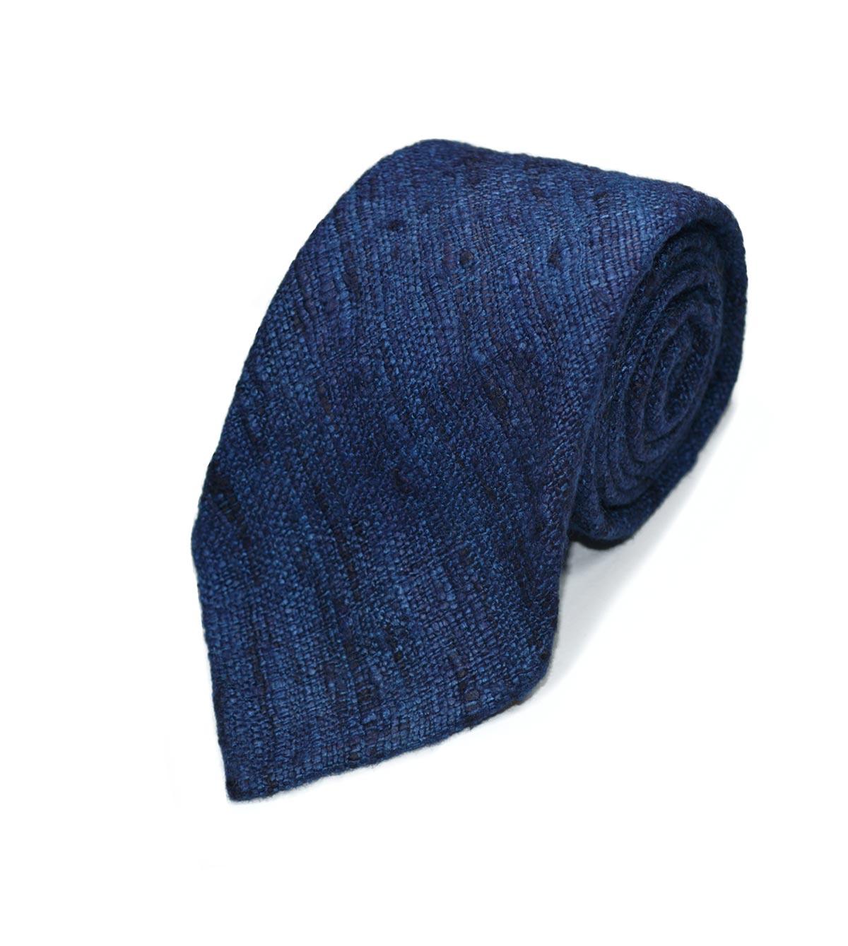 Blue slub silk tie