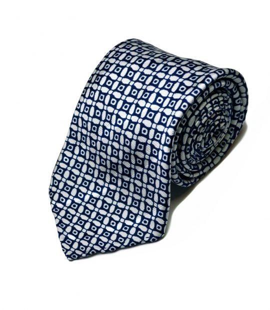 Seven-fold geometric blue silk tie