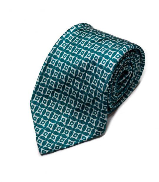 Seven-fold geometric green silk tie